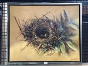 Sale 8797 - Lot 2022 - Roger Roberts - Nest on Yellow 2009 oil on canvas, 44 x 54cm, signed lower