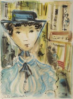 Sale 9099A - Lot 5074 - Sacha Chimkevitch (1920 - 2006) Paris Street Fashion watercolour 37.5 x 27.5 cm (frame: 57 x 47 x 3 cm) signed lower left