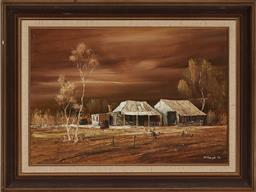Sale 9155 - Lot 2042 - STUART MCKENZIE CULLEN (1933 - ) Country Homestead, 1971 oil on canvas on board 34 x 50 cm (frame: 49 x 64 x 3 cm) signed lower right
