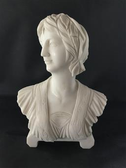 Sale 9175G - Lot 45 - Carved Marble Bust .General Wear ,Consists of 2 Parts (Base and Bust ).Size 26cm H