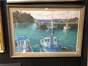 Sale 8811 - Lot 2006 - Patricia Currey - Kiama, oil on board, 59.5 x 85cm (frame), signed verso