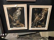 Sale 8861 - Lot 2007 - Artist Unknown (2 works) Shrike and Gymnogene, wood cuts, 34 x 28 each