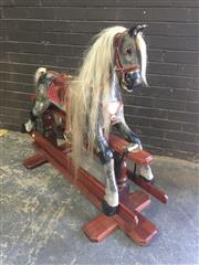 Sale 8976 - Lot 1050 - Vintage Painted Rocking Horse, of Schimmel colouring & on stained timber base (H:110)