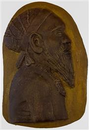 Sale 9002A - Lot 5009 - William Ricketts (1934 - 1993) - Arunta Tribesman h. 21 cm, w. 14 cm