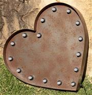 Sale 9066H - Lot 168 - Big rust heart lamp, plugs included