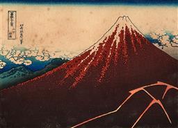 Sale 9252A - Lot 5099 - AFTER HOKUSAI KATSUSHIKA Sanka Hakuu, Thunderstorm below Mt Fuji colour woodblock print 16 x 22 cm (frame: 32 x 40 x 3 cm) .