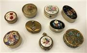 Sale 8436A - Lot 81 - A group of nine floral themed pill boxes including millefiori.