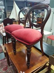 Sale 8593 - Lot 1026 - Pair of Victorian Balloon Back Dining Chairs