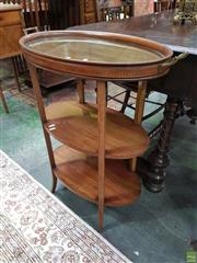 Sale 8634 - Lot 1063 - Edwardian Mahogany & Marquetry Side Table with Tray, the butlers tray with glass base, having three oval tiers & square splayed legs