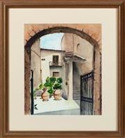 Sale 8855H - Lot 318 - Kitty Hammerman, Tuscan Scene, watercolour on paper, 26 x 22cm, SLR and dated 89
