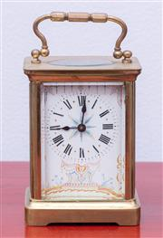 Sale 8891H - Lot 12 - A French and four glass carriage clock (not working). Height 11.5cm