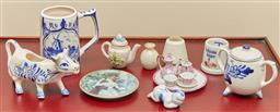 Sale 9098H - Lot 25 - A group of assorted ceramics to include Delft and other blue and white ware, A Goebel pin dish, crested China and miniature tea wares.