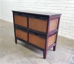 Sale 9121 - Lot 1021 - Timber chest of four wicker drawers (h:77 w:93 d:40cm)