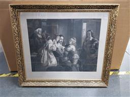 Sale 9155 - Lot 2068 - Hermann Droehmer  Family Portrait with Priest (after Julius Schrader), frame: 70 x8 cm, -