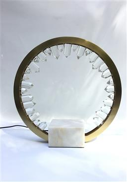 Sale 9175G - Lot 47 - Table lamp on marble base .General wear ,has some chipping on glass .Size :35cm H