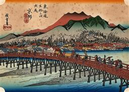 Sale 9252A - Lot 5100 - AFTER HIIROSHIGE ANDO Kyoto, one of the Tokaido 53 Stations colour woodblock print (AF) 16 x 23 cm (frame: 29 x 38 x 2 cm) .