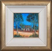 Sale 8415 - Lot 544 - Kevin Charles (Pro) Hart (1928 - 2006) - Stockmans Hut 18.5 x 19cm