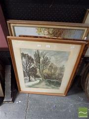 Sale 8474 - Lot 2027 - Group of (3) Works by Various Artists Including Acrylic Painting, Watercolour and Engraving, each framed, various sizes