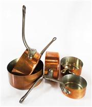 Sale 8828B - Lot 18 - Fabrication Francais graduated sized set of 5 early French copper and tin lined cooking pans. 12 - 18 cm