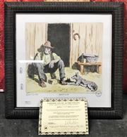 Sale 8941 - Lot 2075 - Lionel Lindsay, Facsimilie, Sunday Camp, 39.5x39.5cm