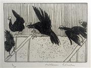 Sale 8996A - Lot 5020 - William Robinson (1936 - ) - Rooster in Flight with Hens, 1979 39 x 32 cm (frame: 49 x 42 x 3 cm)