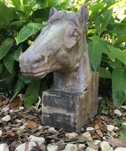 Sale 9015G - Lot 80 - Large Carved Genuine Stone Horse Head Sculpture .General wear, small Chippings. Size: 50cm H x 45cm Front to Back
