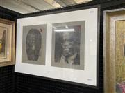 Sale 9053 - Lot 2077 - Artist Unknown - Two Black Men (Rodney King and Judge Clarence Thomas), 1992 frame: 52.5 x 74.5 cm