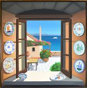 Sale 8309A - Lot 71 - Gillian Lodge (1954 - ) - China in Greece, 1994 153 x 153cm