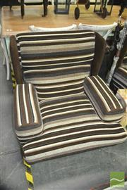 Sale 8337 - Lot 1060 - Pair of Brown Stripe Upholstered Lounge Chairs
