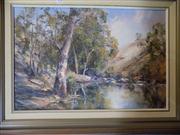 Sale 8437 - Lot 2038 - Betty Mahoney (active 1980s) - Australian Bush and River Scene 49.5 x 74.5cm