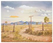 Sale 8506A - Lot 5007 - John Dynon (1954 - ) - Silverton Border Fence, 1986 40.5 x 50.5cm