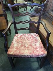 Sale 8666 - Lot 1088 - George III Mahogany Armchair, with pierced ladder back & square legs joined by stretchers (front seat rail broken)