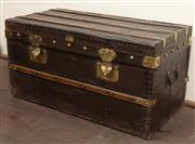 Sale 8871H - Lot 136 - An early French steamer trunk by Ruel of Paris. Height 75cm x Length 40cm x Depth 40cm
