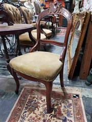 Sale 8925 - Lot 1041 - A carved walnut and olive upholstered hall chair