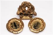 Sale 9052 - Lot 136 - Reproduction Gilt Cherubic Wall Sconce (H: 13.5cm) with a Pair of Gilt Framed Silhouettes (H: 15cm)