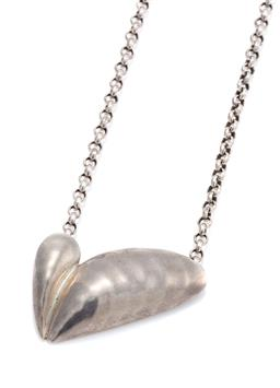 "Sale 9115 - Lot 345 - A GEORG JENSEN SILVER ARTIST PENDANT 2003; Heart ""Amour"" designed by Isabell Kristensen on a belcher chain, heart 21 x 15mm stamped..."