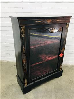 Sale 9097 - Lot 1001 - Victorian Ebonised & Marquetry Pier Cabinet, with gilt brass mounts & glass panelled door enclosing a red velvet interior (h:105 x w...