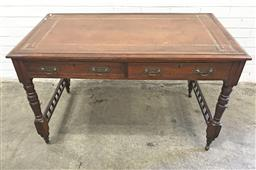 Sale 9097 - Lot 1040 - Late Victorian Mahogany Desk or Library Table, with tooled brown leather top, above two drawers, turned legs and galleried stretcher...