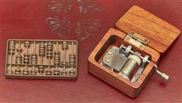 Sale 9098H - Lot 26 - A miniature wind up music box together with a miniature brass abacus, Size of abacus 8cm x 5cm