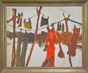 Sale 8363 - Lot 515 - Patrick Hockey (1948 - 1992) - Figures at a Washing Line, c1975 51 x 63cm