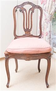 Sale 8550H - Lot 70 - A pair of French occasional chairs with pierced backs and cabriole legs and cushions, Height of back 100cm