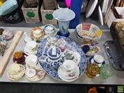 Sale 8582 - Lot 2478 - Group of Sundries incl. Cup Sets, Platters, Bowl, Vase, Tea Pots, Figure, etc