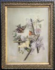 Sale 8671 - Lot 2054 - Artist Unknown (Early C20th) - Two Robins in Springtime, oil on canvas (AF), 63 x 50cm (frame size), unsigned