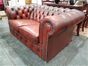 Sale 8745 - Lot 1024 - Moran Burgundy Leather Two Seater Chesterfield
