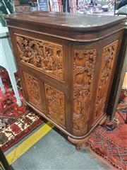 Sale 8822 - Lot 1869 - Heavily Carved Lift Top Bar Unit