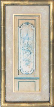 Sale 8866H - Lot 1 - A delicate C18th French watercolour depicting a Chinoiserie door panel in a gilt frame, Height 40cm, Width 21cm
