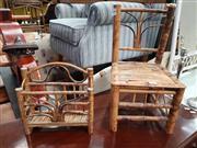 Sale 8934 - Lot 1087 - Tiger Cane Chair & Tiger Cane Magazine Rack (2) (Chair H: 45 W: 26 D: 26cm)