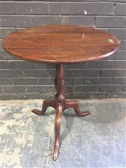 Sale 8976 - Lot 1084 - Georgian Style Mahogany Occasional Table, with circular tilt-top & gun barrel pedestal (H:73 x D:63cm)