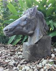 Sale 9015G - Lot 81 - Large Carved Genuine Stone Horse Head Sculpture .General wear, small Chippings. Size: 50cm H x 45cm Front to Back .