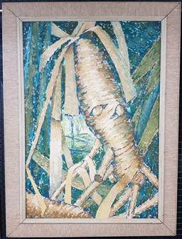 Sale 9155 - Lot 2017 - Mari Johnston New Caledonian Jungle oil on canvas, frame: 95 x 70 cm, inscribed verso -